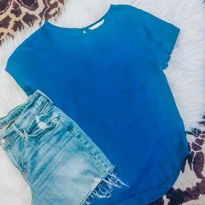 Forever 21 Cobalt Blue Crepe Blouse, Size S 💙